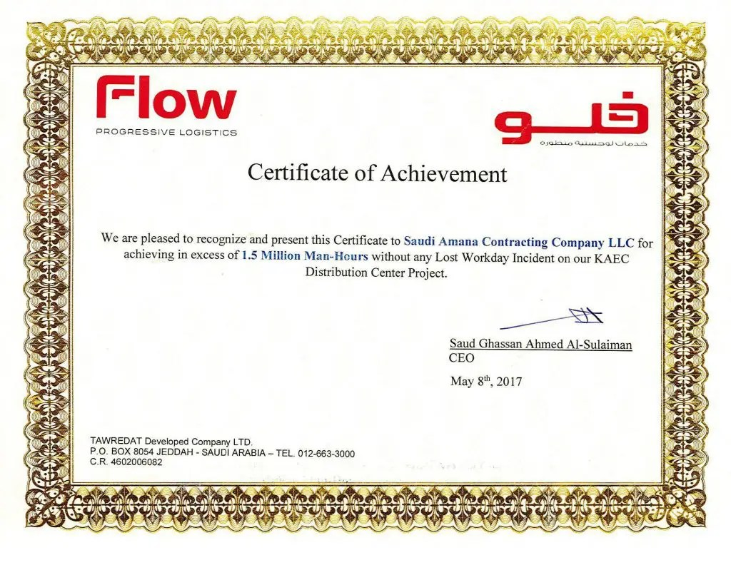 Safety Certificate from FLOW Progressive Logistics
