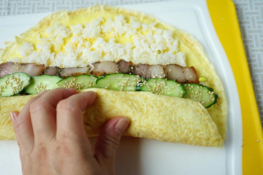 便當,午餐,小黃瓜,早餐,美濃米,豆芽,飯團,飯捲,鹹豬肉