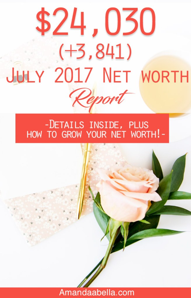 July 2017 Net Worth Report: $24,030 (+3,841)
