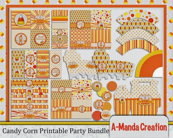Candy Corn Party Printables and Digital Scrapbooking Kit