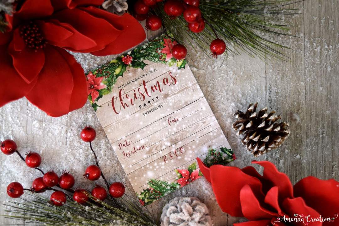 poinsetta Christmas party invitation