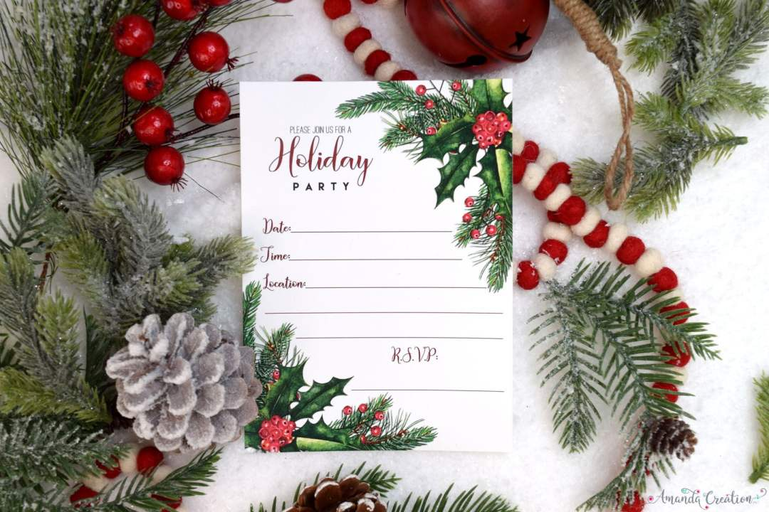 holly & pine holiday invitation