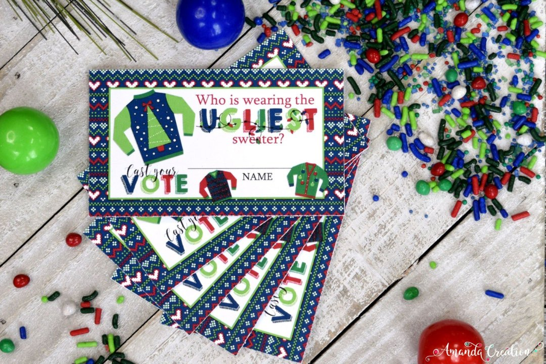 ugly sweater party voting cards