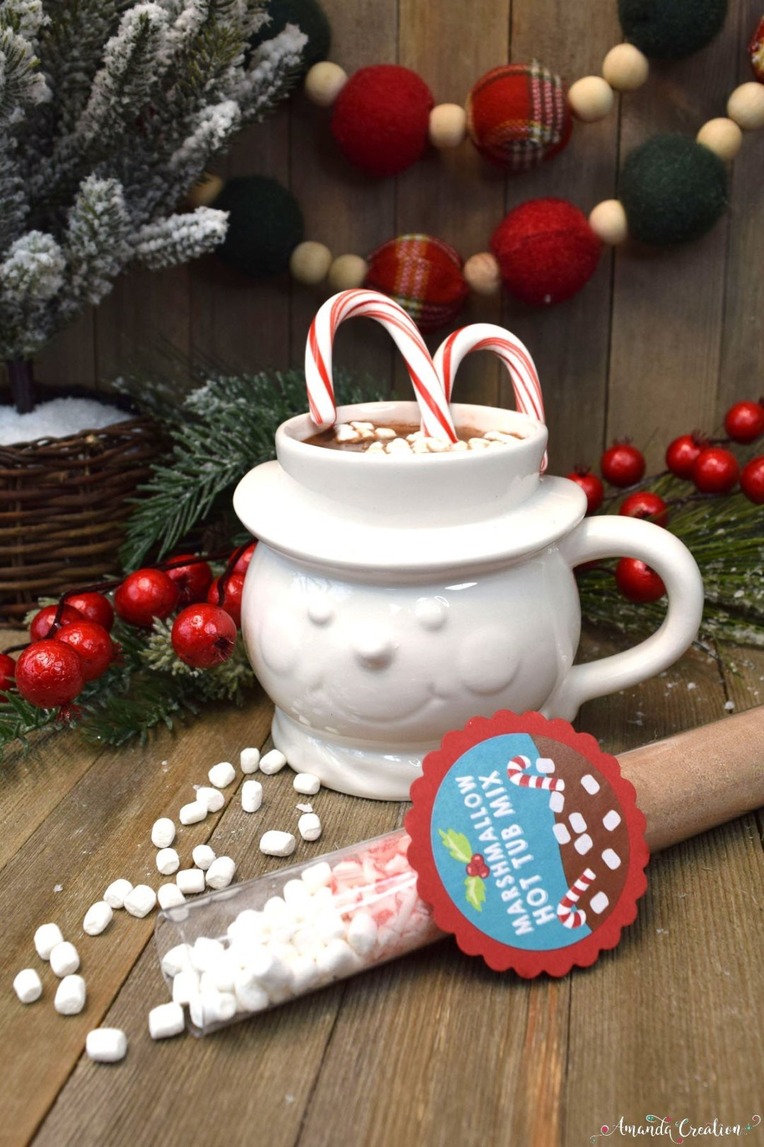 hot cocoa mix Christmas gift sticker
