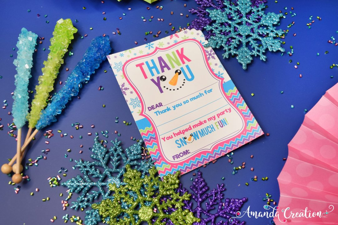snowman birthday party thank you card