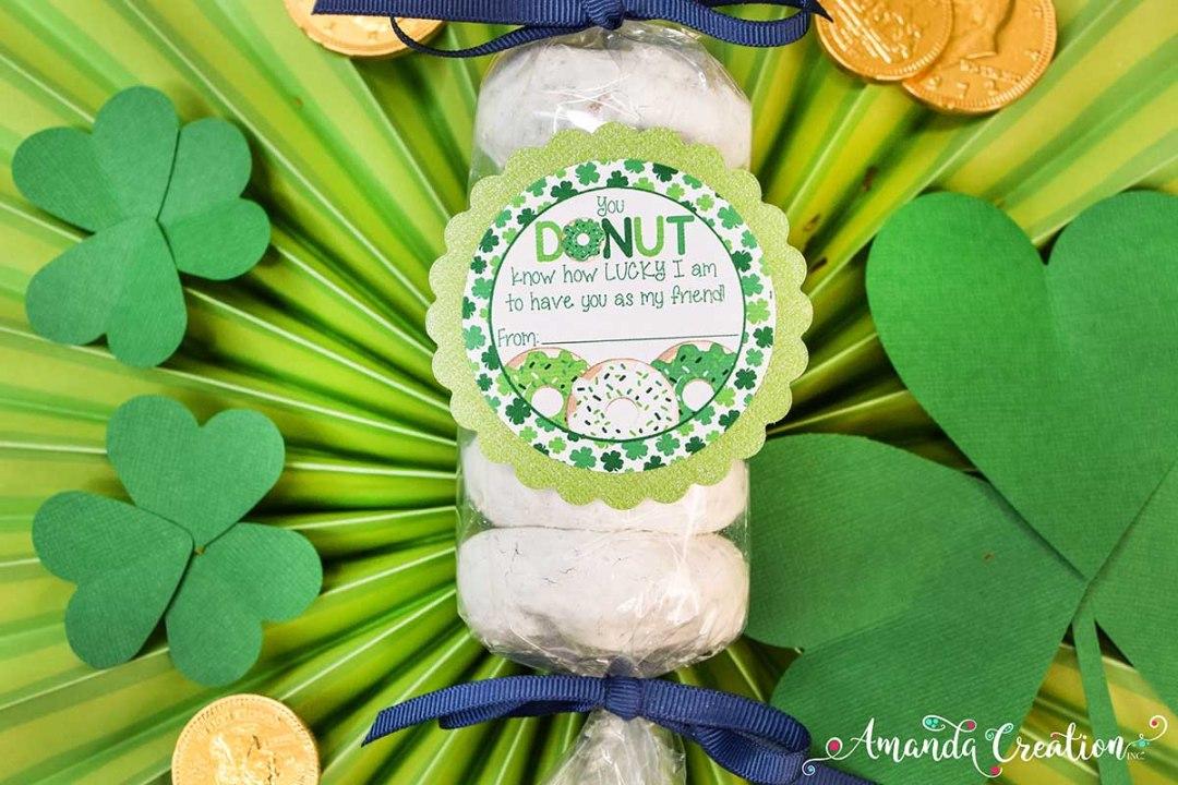 St. Patrick's Day donut gift sticker