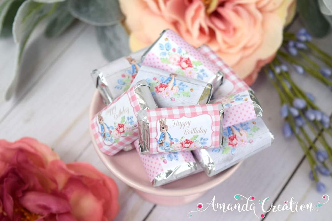 Little Rabbit Spring Birthday Party Mini Candy Bar Wrappers