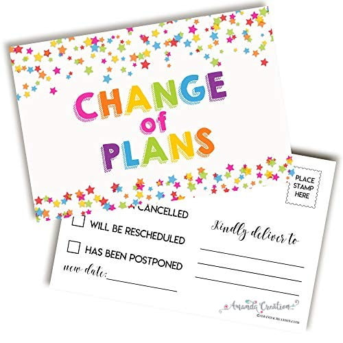 Colorful Change of Plans Postcard