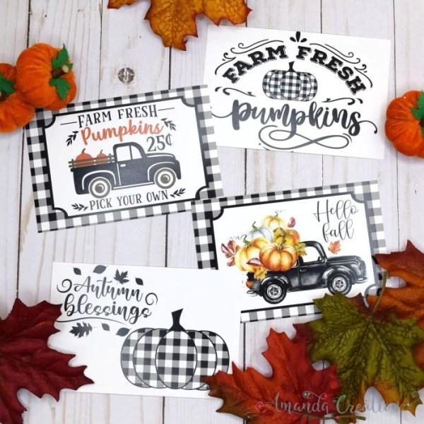 Black & White Buffalo Plaid Fall Postcards