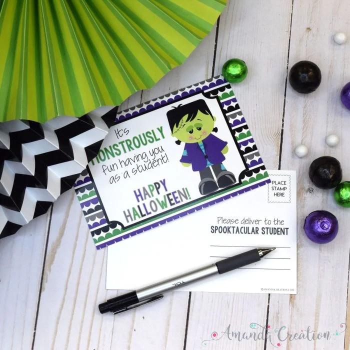 Frankenstein Halloween Teacher Postcards