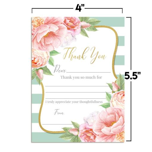 Aqua & Peony Floral Thank You Cards