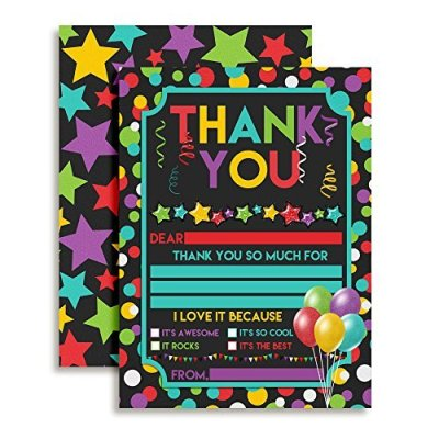 Balloons Stars & Confetti Thank You Cards