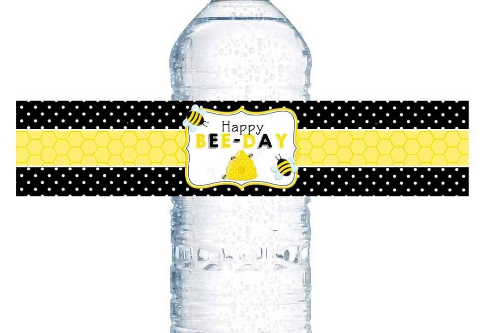 Bumble Bee Birthday Water Bottle Labels