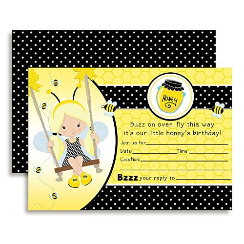 Bumble Bee Girl Birthday Party Invitations