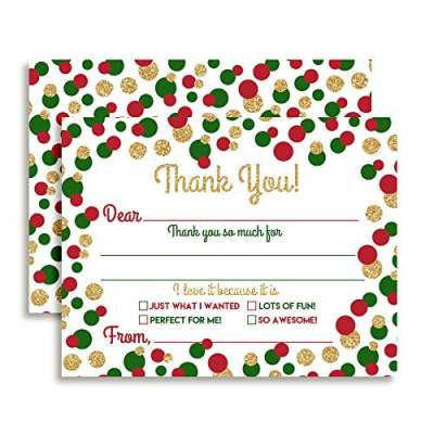 Christmas Polka Dot Thank You Cards