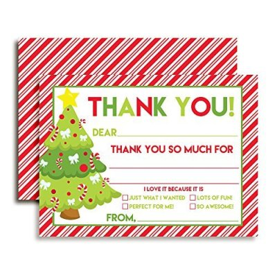 Decorated Christmas Tree Thank You Cards