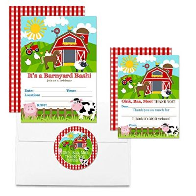 Barnyard Bash Thank You Cards