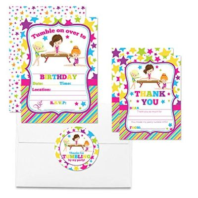 Gymnastics & Tumbling Thank You Cards (Girl)