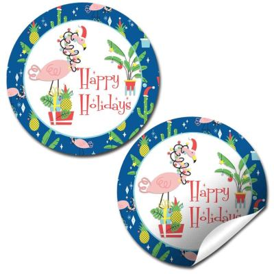 winter flamingo holiday stickers
