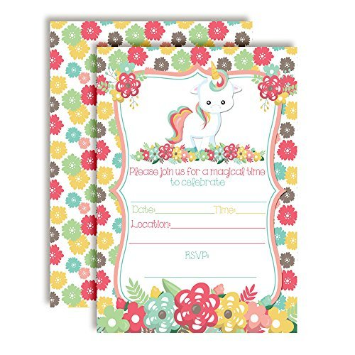floral unicorn birthday party invitations