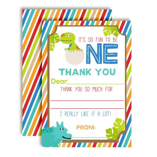Dinosaur 1st Birthday Thank You Cards