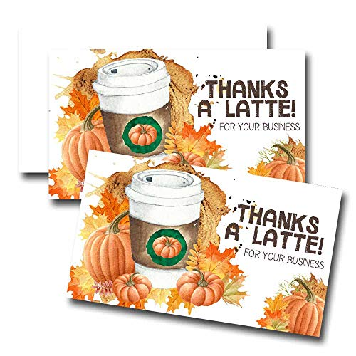 "Funny Thanks A Latte Pumpkin Spice Coffee Themed Thank You Customer Appreciation Package Inserts for Small Businesses, 100 2"" X 3.5"" Single Sided Insert Cards by AmandaCreation"