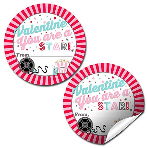 Movie Night Valentine Party Stickers