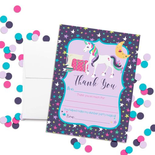 Unicorn Sleepover Thank You Cards