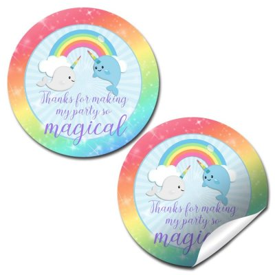 Narwhal Unicorn of The Sea Party Stickers