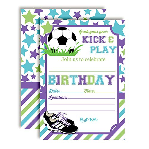 pastel kick and play soccer themed birthday party invitations for girls
