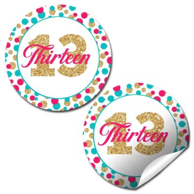 Polka Dot 13th Birthday Party Stickers