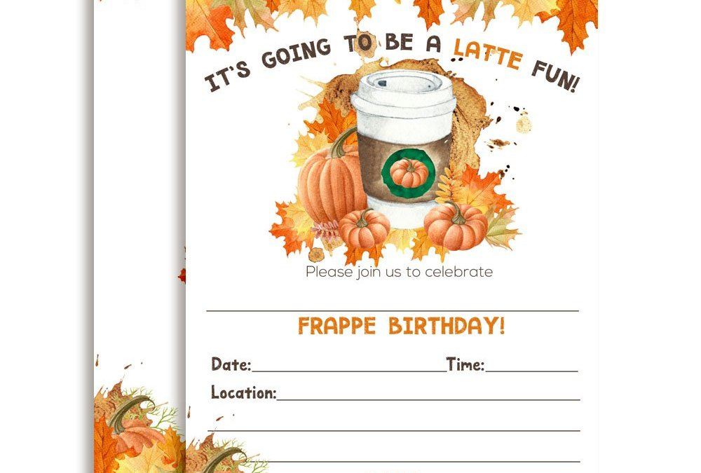 Pumpkin Spice Latte with Autumn Leaves Birthday Party Invitations
