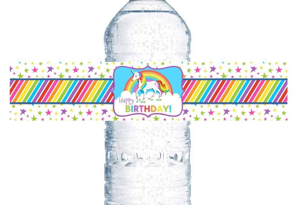 Roller Skating Unicorn Birthday Party Water Bottle Labels