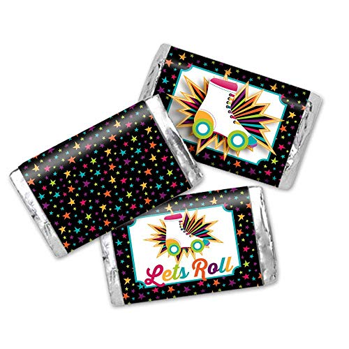 Roller Skating Themed Birthday Party Mini Chocolate Candy Bar Sticker Wrappers for Kids