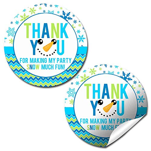 snowman thank you birthday party stickers