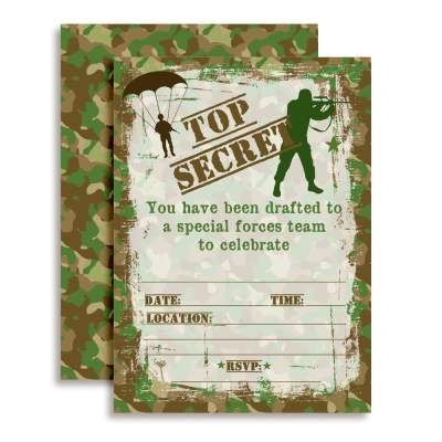 Top Secret Army Soldier Camouflage Party Thank You Cards