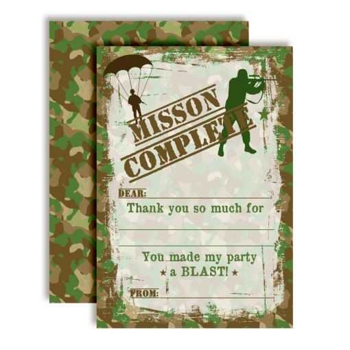 Army Soldier Camouflage Thank You Cards