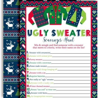 ugly christmas sweater game cards