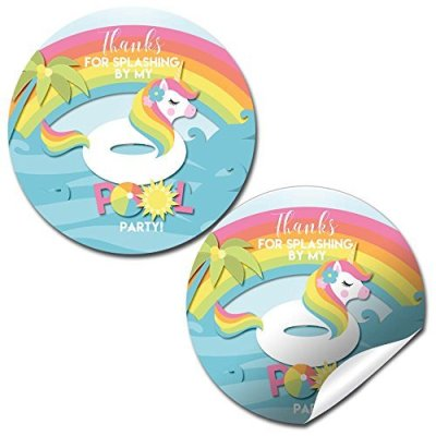 Unicorn Pool Float Party Stickers