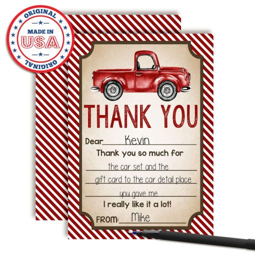 Red Pickup Truck Thank You Cards