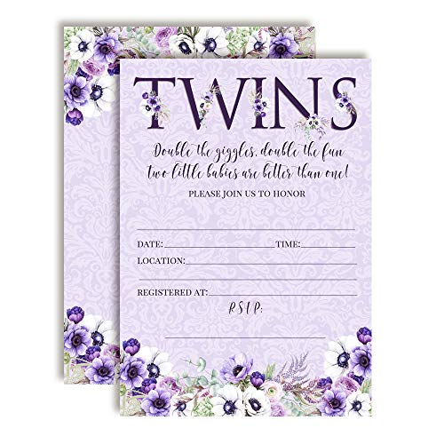 Watercolor Violets Fl Baby Shower Invitations For Twins