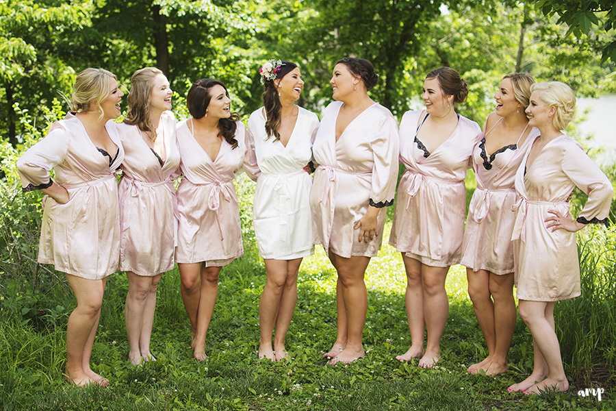 bridesmaids in matching robes | Ali and Joe's #gardenwedding by amanda.matilda.photography | Colorado Wedding Photographer