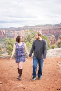 Couple walking overlooking the Colorado National Monument