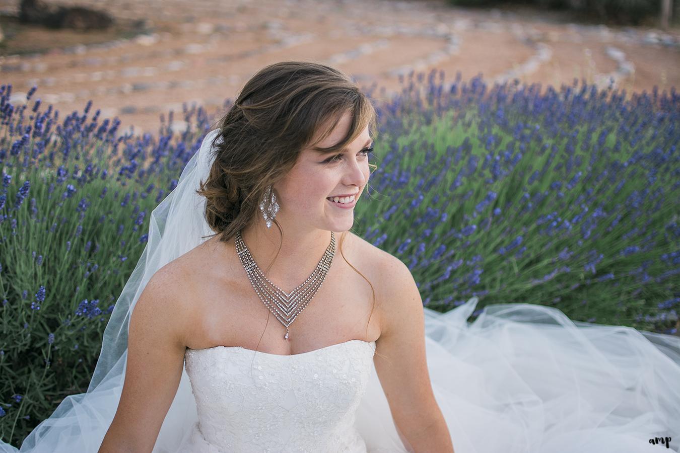 Bride sitting in field of lavender