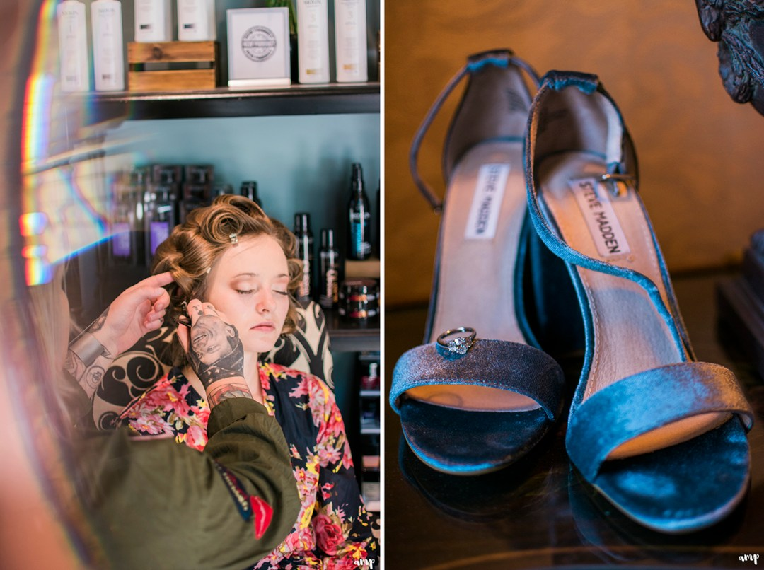 Bride getting ready with her Something Blue shoes