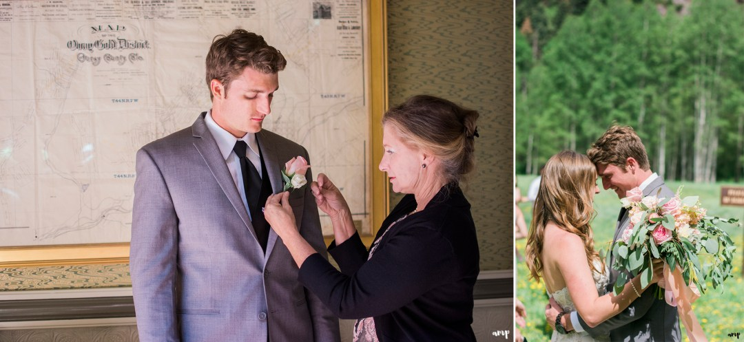 Mom pinning the boutonniere on the groom