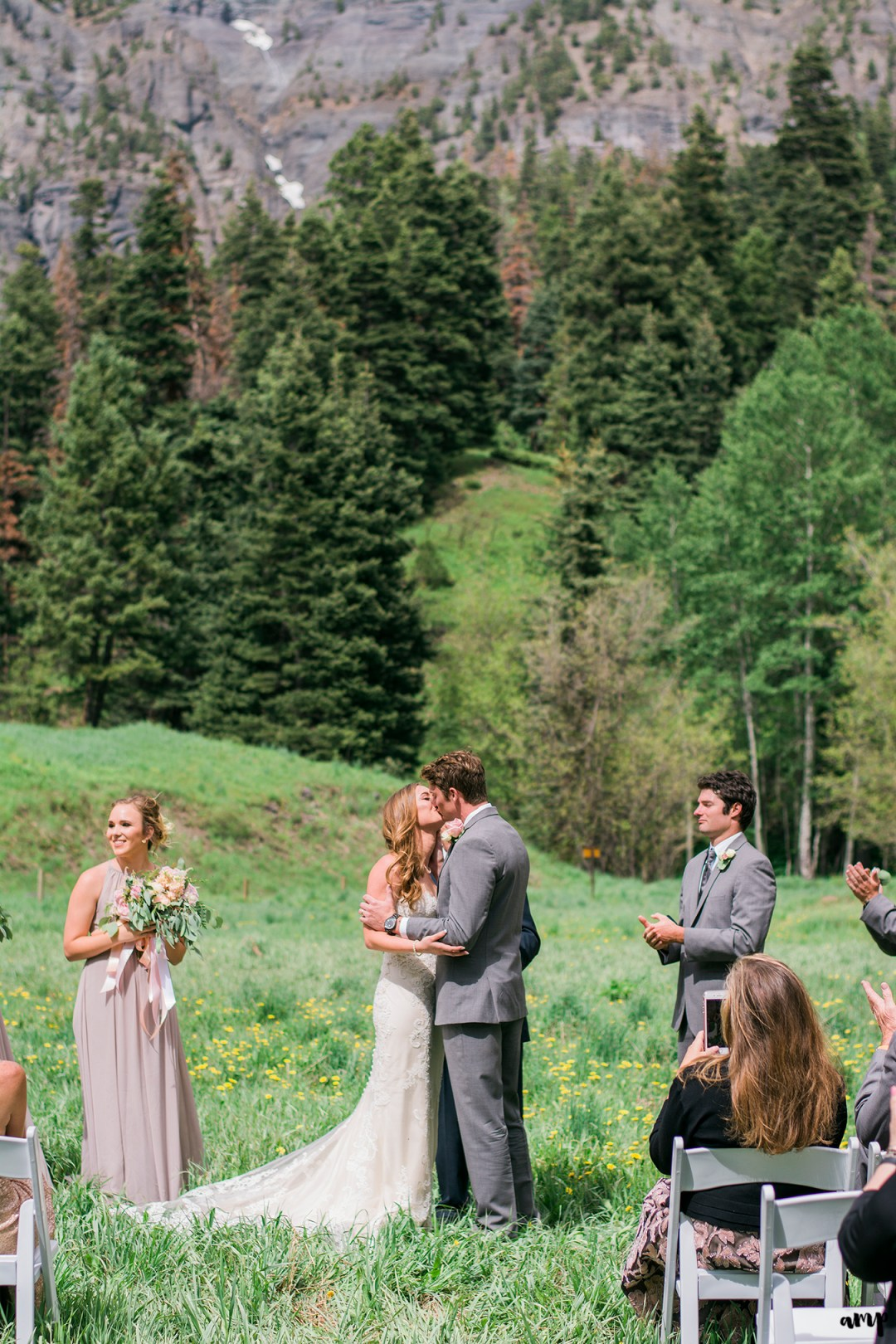 Bride and Groom's first kiss at the Ouray Amphitheater