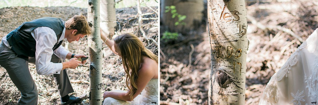 Bride and groom carve I Do into an aspen tree