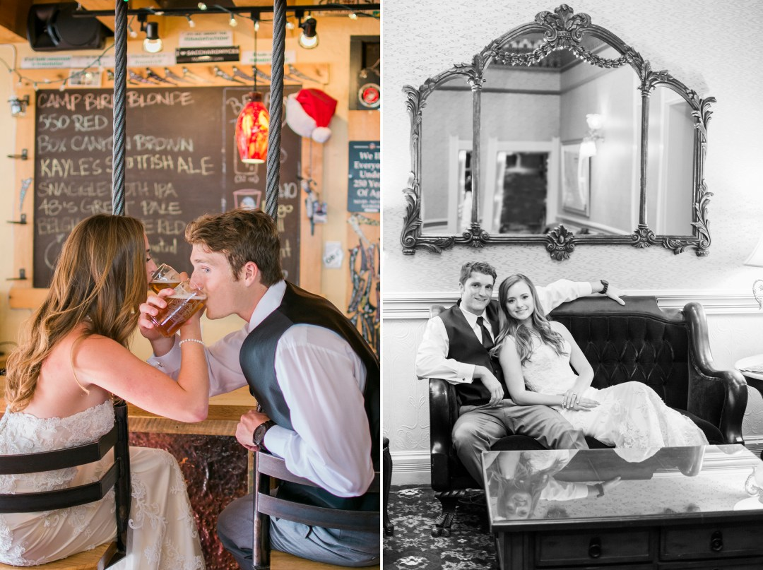 Bride and groom at the Ouray Brewery