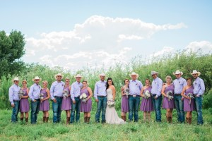 Wedding Party in an alfalfa field